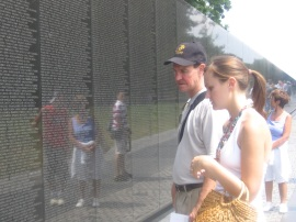 My father and me at the Vietnam War Memorial in Washington, D.C.