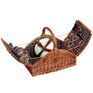 Household Essentials ML-2660 Willow Picnic Basket/Service for 4