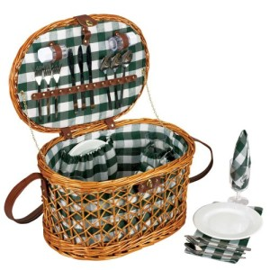 Household Essentials ML-2715 Willow Picnic Basket/Service for 4